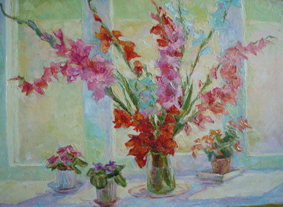 N. Kavulich. Window. Sun. Gladioli
